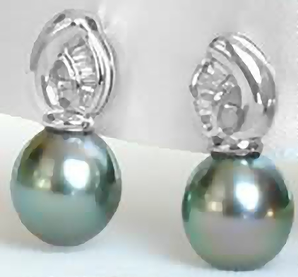 8.8 mm Cultured Tahitian Pearl and Baguette Diamond Earrings in 18k white gold