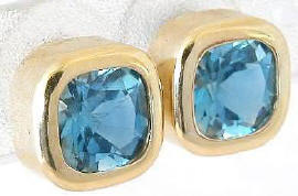Blue Topaz Cushion Cut Bezel Set Earrings