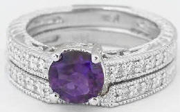 Antique Amethyst Diamond Engagement Ring and Matching Wedding Band