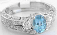 Aquamarine Diamond Engagement Rings