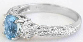 Vintage Oval Aquamarine Diamond Engagement Rings