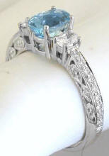 Antique Aquamarine Diamond Engagement Ring