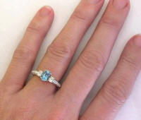 Antique Aquamarine Diamond Engagement Ring in 14k white gold
