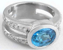 Bezel Set Blue Zircon Ring