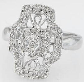 0.26 carat Vintage Style Diamond Fashion Ring in 18k white gold