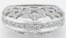 0.60 ctw Pave Star Diamond Fashion Ring in 14k white gold