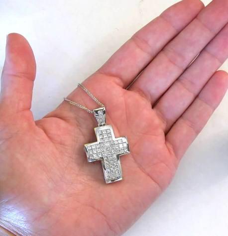 4b6888a067 ... Three Row Invisibly Set Princess Cut Diamond Cross Pendant in 18k White  Gold