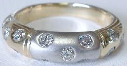 1.05 ctw Scattered Burnished Diamond Ring in 14k white and yellow gold