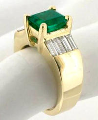 Genuine Emerald and East West Set Baguette Diamond Ring in 14k yellow gold