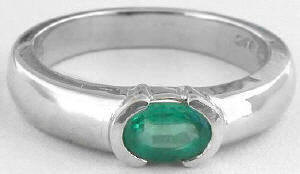 0.50 ct Emerald Solitaire Ring in 14k white gold