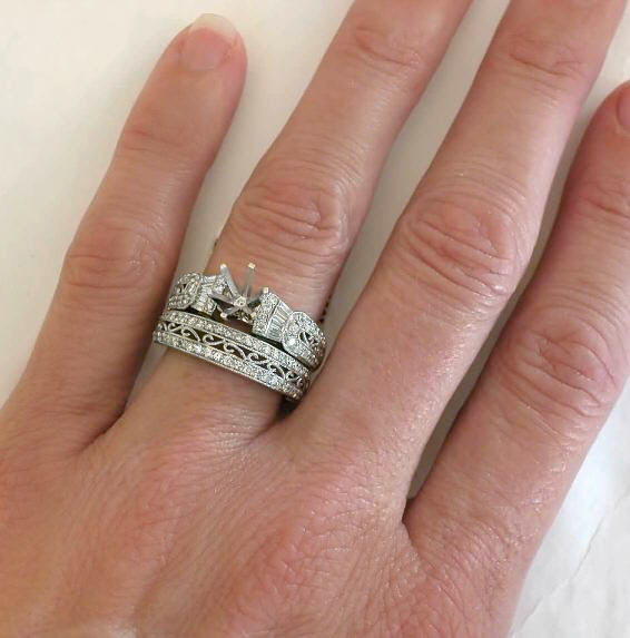 antique baguette and round diamond semi mount in 14k - How Do Wedding Rings Work