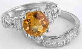 citrine engagement rings in 14k white gold
