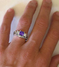 Amethyst White Sapphire Three Stone Engagement Rings