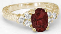 Garnet and Diamond Ring with Engraving in yellow gold