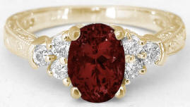 Vintage 1.80 ctw Garnet and Diamond Engagement Ring in 14k yellow gold