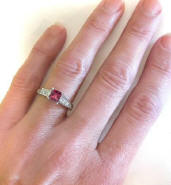 Princess Cut Rhodolite and Diamond Wedding Ring in 14k white gold