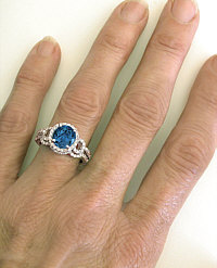 London Blue Topaz Engagement Ring and Wedding Band on the hand