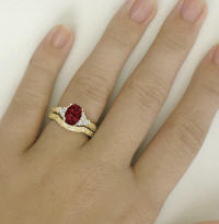 Vintage Garnet Diamond Engagement Ring and Wedding Band