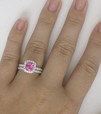 Engagement Rings with Cushion Cut Pink Sapphire