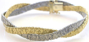 Italian Hammered Wire Gold Twisted Bracelet in 14k white and yellow gold