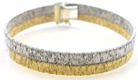 Italian 2-Row Hammered Wire Gold Bracelet in 14k white and yellow gold