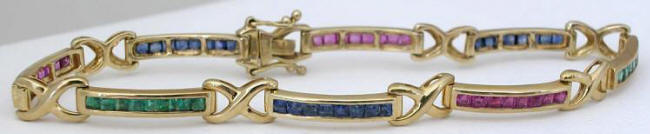 Genuine Ruby Sapphire Emerald Tennis Bracelet in Solid 14k yellow gold