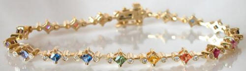 Natural Princess Rainbow Sapphire Bracelet with Diamonds in real 14k Yellow Gold for sale