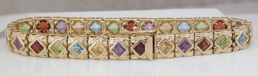 Multigemstone Bezel Set Bracelet In 14k Yellow Gold