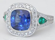 Custom Blue Sapphire and Pear Emerald Ring from MyJewelrySource