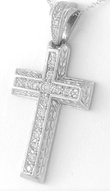 Carved design 055 ctw round diamond cross pendant in 14k white gold diamond cross pendant in 14k white gold with carving click to enlarge any image aloadofball Images