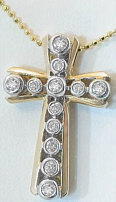 Bezel Set Diamond Cross Necklace in 14k white gold