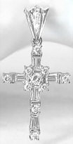 Baguette and Round Diamond Cross Pendant in 18k white gold
