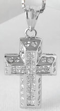 Invisible Princess and Burnished Round Diamond Cross in 14k white gold