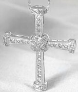 Diamond Cross Pendant in 18k white gold with X motif