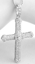 Pave and Bezel Set Diamond Cross Pendant in 14k white gold