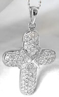 Pave Diamond Cross Pendant in 14k white gold