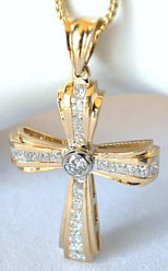 Mens 2 carat Princess Cut Diamond Cross in 14k yellow gold