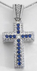 2 carat Sapphire and Diamond Cross Pendant in 14k white gold