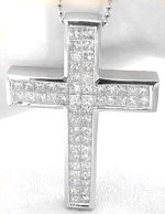 Invisible Set Princess Cut Diamond Cross in 14k white gold