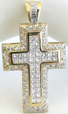 Mens 5 carat Invisible Set Princess Cut and Round Diamond Cross in 14k yellow gold