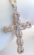 Ornate Diamond Cross in 14k Rose and White Gold