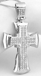 Mens large 4 carat Princess Cut Diamond Cross Pendant in 18k white gold