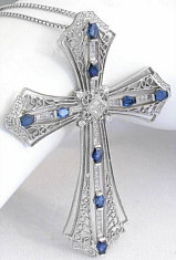 Ornate 3.25 ctw Sapphire and Diamond Filigree Cross in 18k white gold