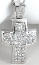 Mens Princess Cut Diamond Cross Pendant in 18k white gold