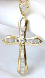 "3 carat Baguette Diamond Cross with Round Center in 18k yellow gold (2 1/2"" tall)"