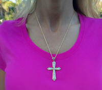 women's large diamond cross for sale in 14k yellow gold