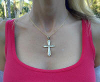 women's large 3 carat diamond cross for sale in 14k yellow gold