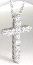 1 carat Elegant Diamond Cross in 14k white gold