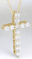 Classic 0.50 ctw Diamond Cross in 14k yellow gold