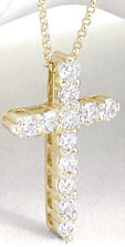 2 carat Shared Prong Round Diamond Cross Pendant in 14k yellow  gold